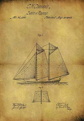 Drawing - 1869 Sailing Ship Patent by Dan Sproul