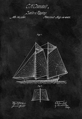 Drawing - 1869 Sailing Vessel Patent by Dan Sproul