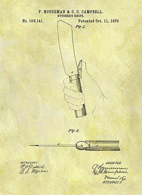 Food Stores Mixed Media - 1870 Butcher Knife Patent by Dan Sproul