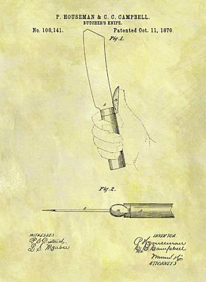 1870 Butcher Knife Patent Art Print