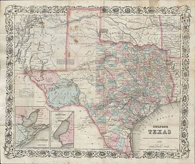 1870 Colton Pocket Map Of Texas Art Print