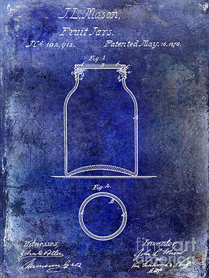 1870 Mason Jar Patent Blue Art Print by Jon Neidert