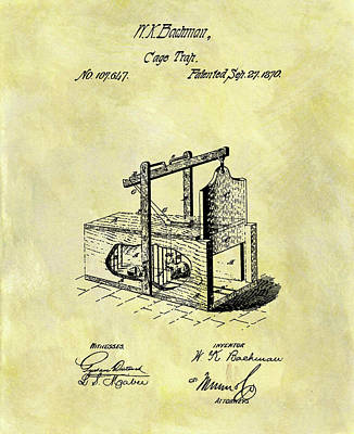 Mice Mixed Media - 1870 Mousetrap Patent by Dan Sproul