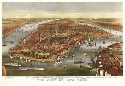 Nyc Mixed Media - 1870 New York Map by Dan Sproul