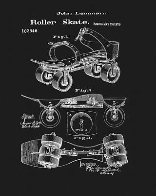 Drawing - 1870 Roller Skate Patent by Dan Sproul