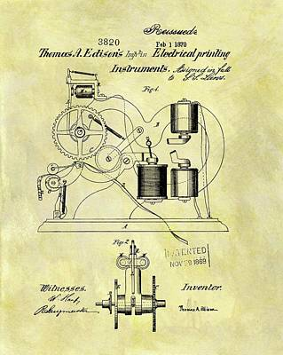 1870 Mixed Media - 1870 Thomas Edison Patent by Dan Sproul