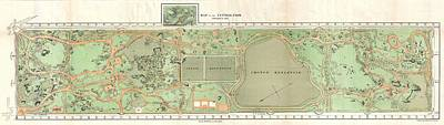 1870 Vaux And Olmstead Map Of Central Park New York City Art Print