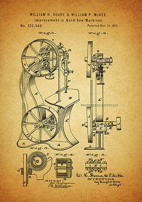 Drawing - 1871 Band Saw Patent by Dan Sproul