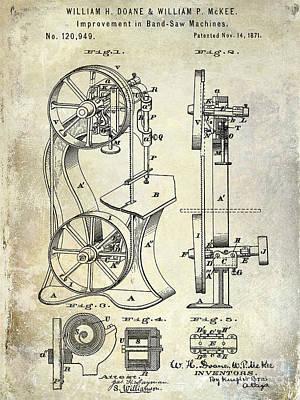 Sawmill Photograph - 1871 Bandsaw Patent by Jon Neidert