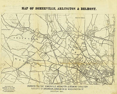 Digital Art - 1871 Somerville Arlington And Belmont Map by Toby McGuire