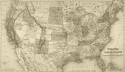 Digital Art - 1871 United States Railroad Map Usa Sepia by Toby McGuire