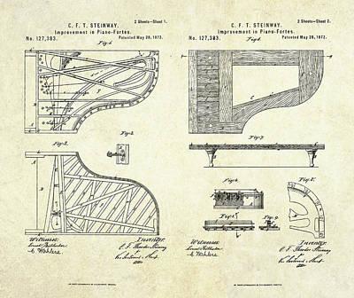 1872 Steinway Piano Forte Improvement S. 1-2 Art Print