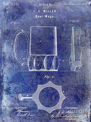 Coors Photograph - 1873 Beer Mug Patent Blue by Jon Neidert