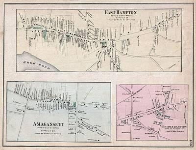 1873 Beers Map Of East Hampton, Bridgehampton, And Amagansett, Long Island, New York  Art Print by Paul Fearn