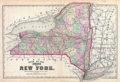 Maps Photograph - 1873 Beers Map Of New York State  by Paul Fearn