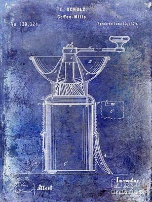 Old Grinders Photograph - 1873 Coffee Mill Patent Blue by Jon Neidert