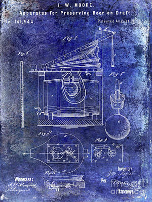 Americana Micro Art Photograph - 1873 Draft Beer Patent Blue by Jon Neidert