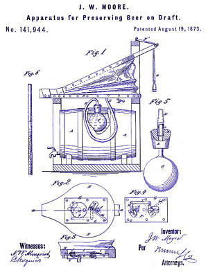 Stein Photograph - 1873 Draft Beer Patent Blueprint by Jon Neidert