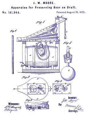 Americana Micro Art Photograph - 1873 Draft Beer Patent Blueprint by Jon Neidert