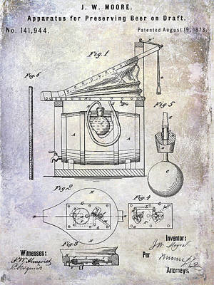 Stein Photograph - 1873 Draft Beer Patent by Jon Neidert