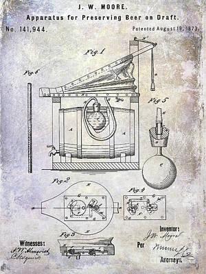 Americana Micro Art Photograph - 1873 Draft Beer Patent by Jon Neidert