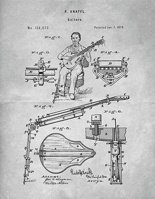 Musicians Drawings - 1873 Guitar Patent Blueprint by Dan Sproul