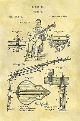 Musicians Drawings - 1873 Guitar Patent by Dan Sproul