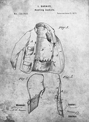 Duck Hunting Drawing - 1873 Hunting Jacket Patent by Dan Sproul