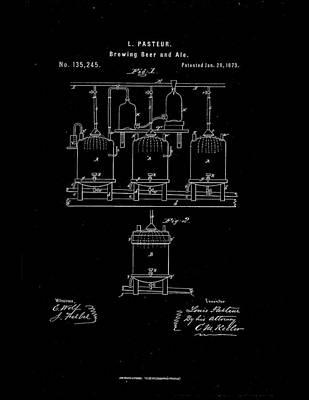 1873 Louis Pasteur Beer Brewing Patent Drawing Art Print