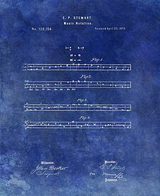 Musicians Drawings - 1873 Musical Notation Patent by Dan Sproul