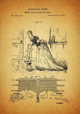 Moms Mixed Media - 1874 Baby Exercising Corset by Dan Sproul