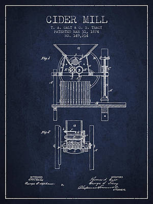 1874 Cider Mill Patent - Navy Blue Art Print by Aged Pixel