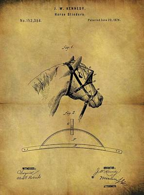 Animals Drawings - 1874 Horse Blinder Patent by Dan Sproul