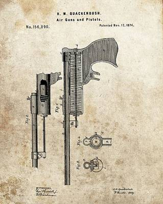 1874 Mixed Media - 1874 Pistol Patent by Dan Sproul