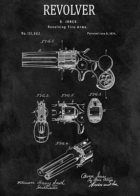 Drawing - 1874 Revolver Gun Patent by Dan Sproul