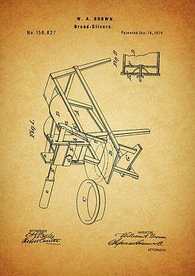Culinary Mixed Media - 1875 Bread Slicer Patent by Dan Sproul