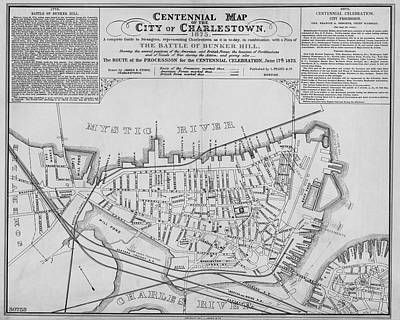 Digital Art - 1875 Centennial Charlestown Map Charlestown Ma Black And White by Toby McGuire