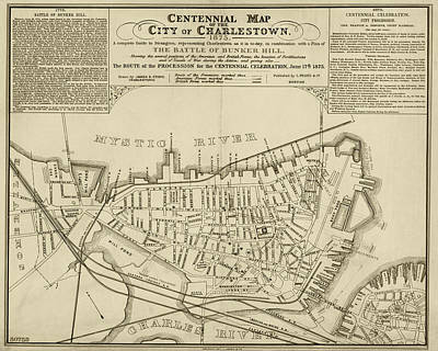 Digital Art - 1875 Centennial Charlestown Map Charlestown Ma Sepia by Toby McGuire