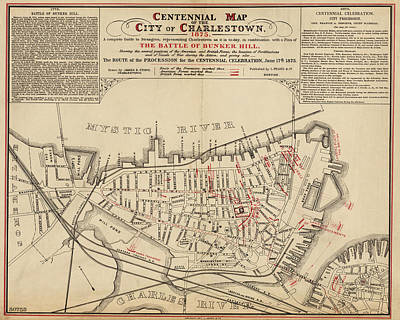 Digital Art - 1875 Centennial Charlestown Map Charlestown Ma by Toby McGuire