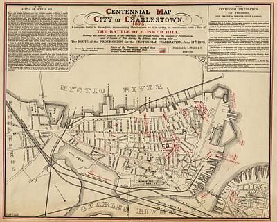 Digital Art - 1875 Centennial Charlestown Map Charlestown Ma by Toby McGuire