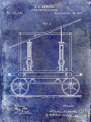 Fire Trucks Photograph - 1875 Fire Extinguisher Patent Blue by Jon Neidert