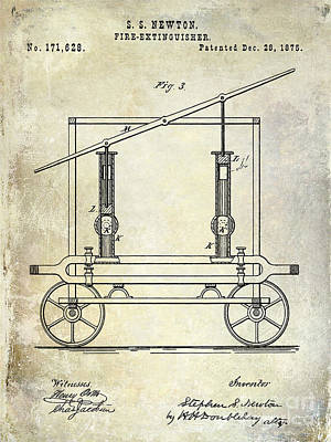 Firetruck Photograph - 1875 Fire Extinguisher Patent by Jon Neidert