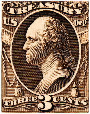 American Revolution Painting - 1875 George Washington Treasury Department Stamp by Historic Image