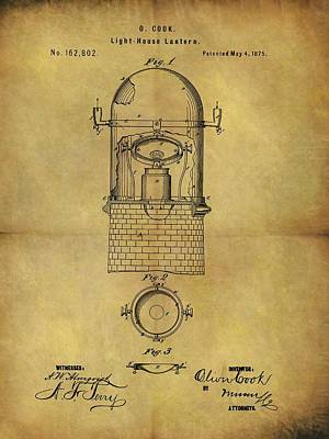 Lighthouse Drawing - 1875 Lighthouse Lantern Patent by Dan Sproul