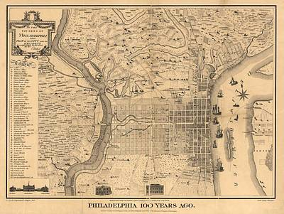 Location Mixed Media - 1875 Philadelphia Map by Dan Sproul