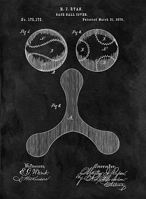 1876 Mixed Media - 1876 Baseball Drawing Patent by Dan Sproul