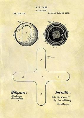 1876 Drawing - 1876 Baseball Patent by Dan Sproul