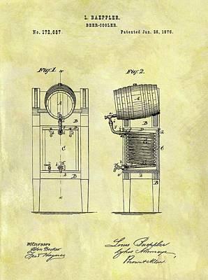 Beer Drawings - 1876 Beer Cooler Patent by Dan Sproul