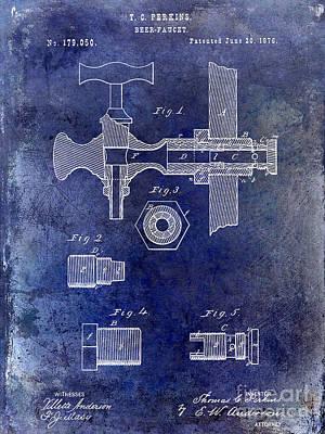 Faucet Photograph - 1876 Beer Faucet Patent Blue by Jon Neidert