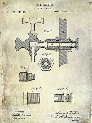 1876 Beer Faucet Patent Art Print by Jon Neidert
